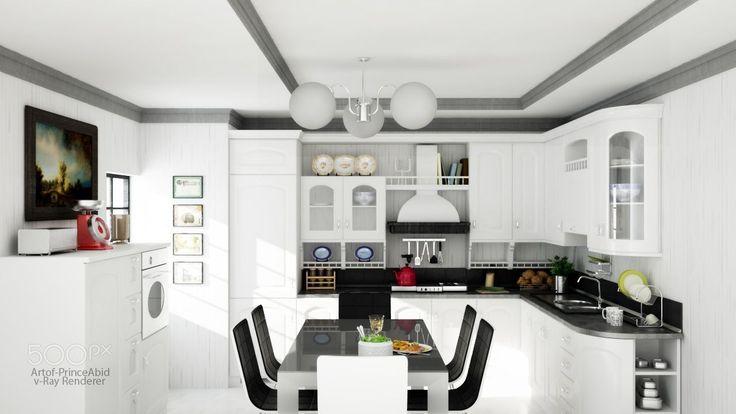 White Interior Kitchen V-Ray project with 3DsMax #vray #3dsmax #artofprinceabid #architecturalvisualisation #interior #kitchen