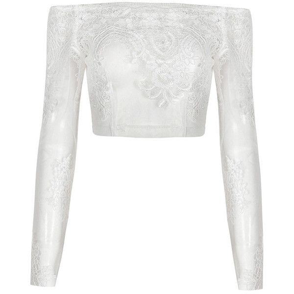 Honey couture brittany white sheer off shoulder long sleeve embroided... (£93) ❤ liked on Polyvore featuring tops, off shoulder long sleeve top, off shoulder crop top, off the shoulder crop top, sexy long sleeve tops and off the shoulder tops