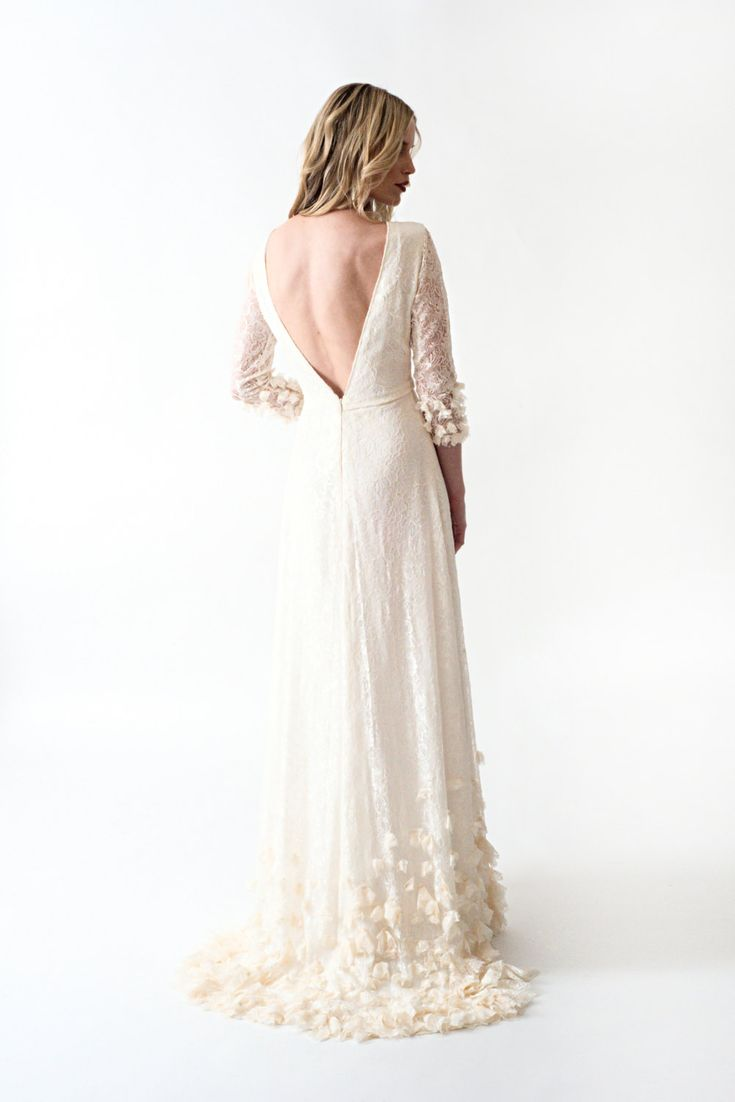 Lace Boho Wedding Dress with Sleeves Open Back and by ...