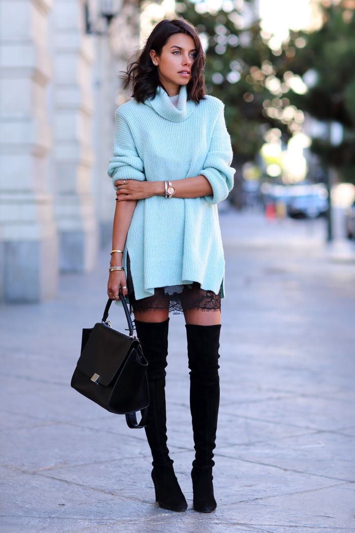 Leather and Lace.... love the sweater. The colour keeps the outfit daytime friendly
