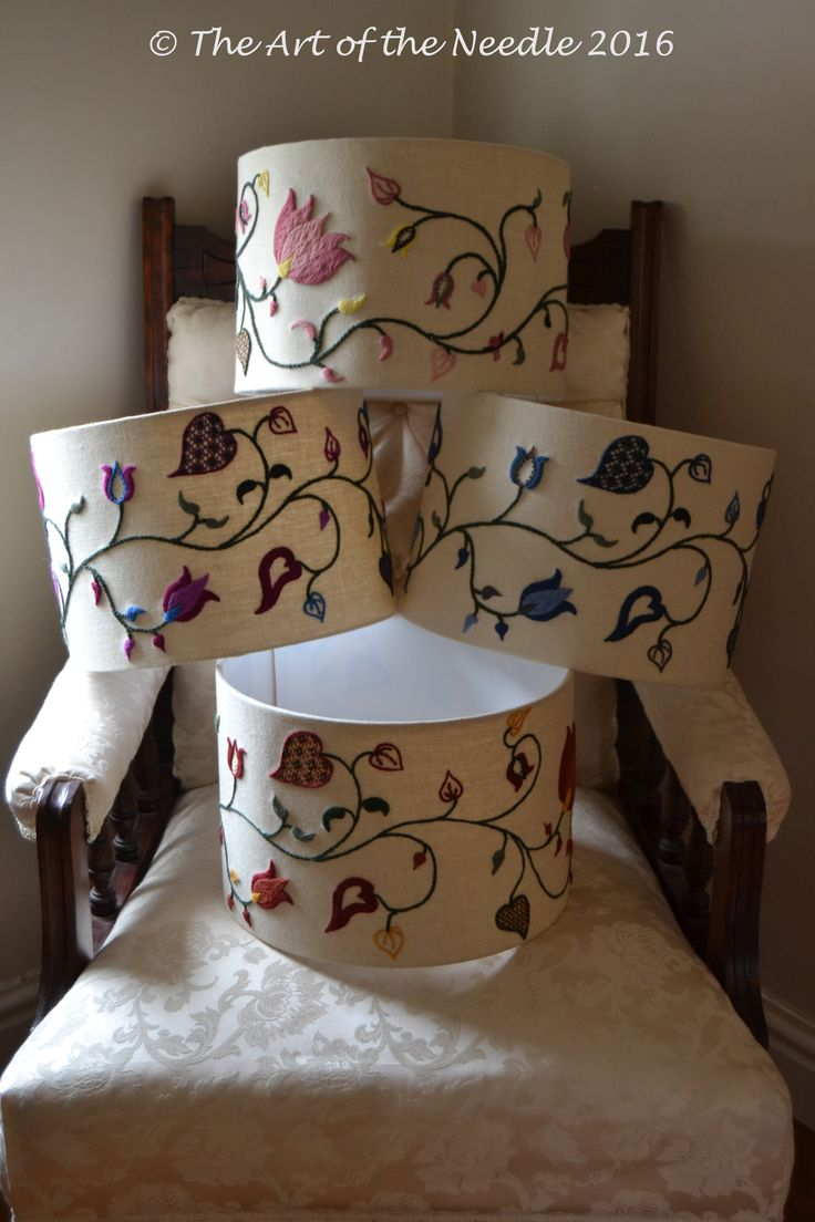 Crewelwork Lampshades by Elizabeth Tapper at The Art of the Needle.