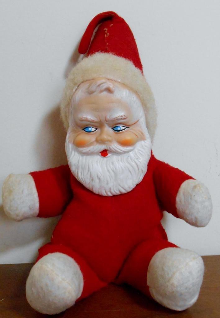 Vintage quot rubber face plush stuffed santa claus doll