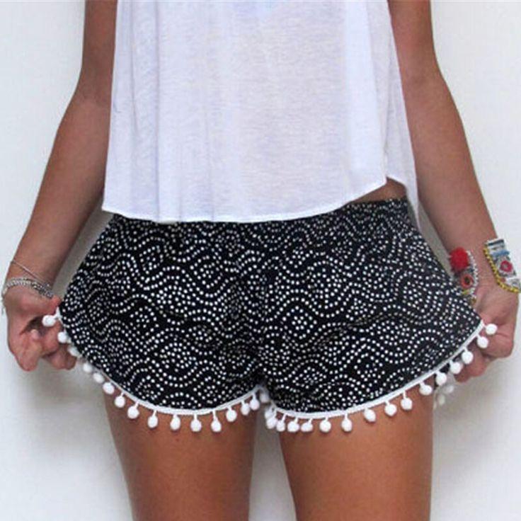 2016 mujeres del verano del estilo de la borla pantalones cortos de impresión pantalones cortos ocasionales lindo Sportwear para las niñas S XL 2 colores LX159 en Shorts de Moda y Complementos Mujer en AliExpress.com | Alibaba Group