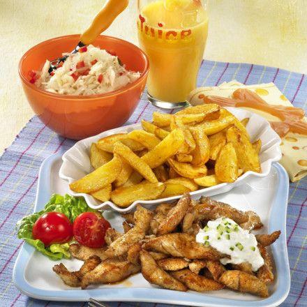 Putengyros mit Kartoffelspalten Rezept | LECKER