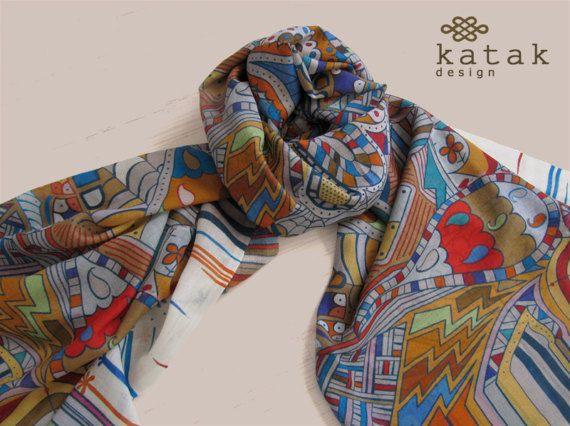 Pañuelo grande estampado, pañuelo multicolor impresion digital, pañuelo de fina lana y seda con diseño abstracto, chal primavera