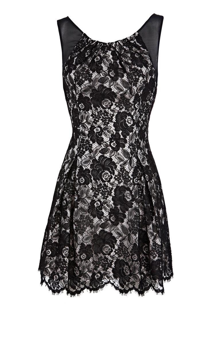 Black dress karen millen - Karen Millen Tailored Lace Dress Black Kmm100 90 15