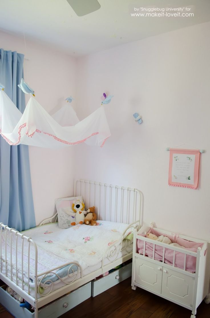 DIY tulle canopy on the bed