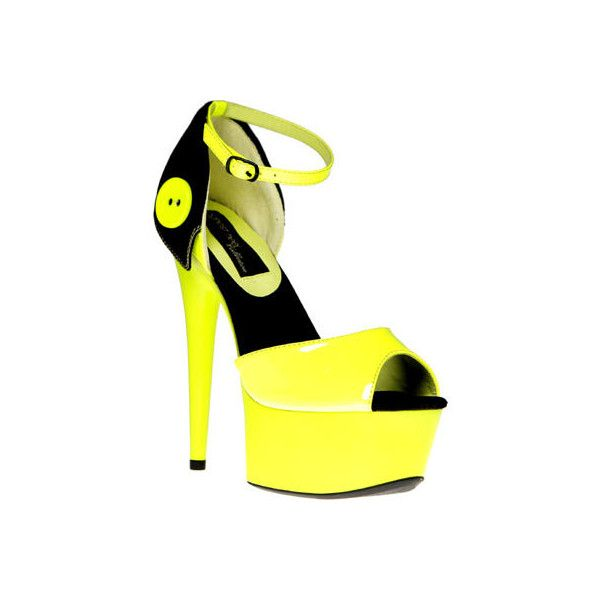 Women's Highest Heel Glow-141 - Neon Yellow Patent Dress ($90) ❤ liked on Polyvore featuring shoes, sandals, yellow, neon yellow sandals, yellow platform shoes, platform sandals, patent leather shoes and neon yellow shoes