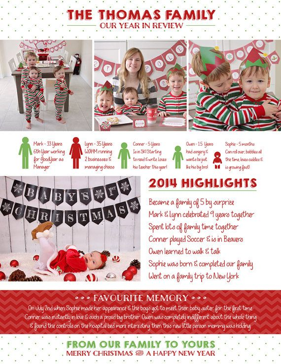 Christmas Newsletter Year in review by SugarPickleDesigns on Etsy