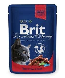 Brit Premium Cat Pouches with Beef Stew & Peas Yetişkin kediler için Sığır eti ve bezelyeli yaş mama  İçindekiler:Et ve Et ürünleri, Bitkisel ürünler, Sebze, Mineraller Analiz:Protein %8,5, Yağ %4,5, Kül %2,5, Seluloz%0,4, Nem %82 Besinsel Katkılar:Vitamin D3 250 IU, Vitamin E(alfatokoferol) 100 mg, E6 Çinko 10mg, E5 Manganez 2 mg, E2 iodine 0,7 mg, E4 bakır 0,2 mg, Biyotin 0,1 mg, Taurine 450 mg Uyarılar; Kuru ve serin bir yerde ağzı kapalı olarak muhafaza ediniz.