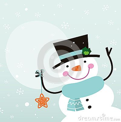 Happy winter Snowman holding christmas star. Vector
