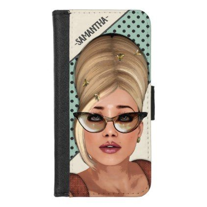 Retro Sixties Fashion Funny Beehive Hairstyle iPhone 8/7 Wallet Case - vintage gifts retro ideas cyo