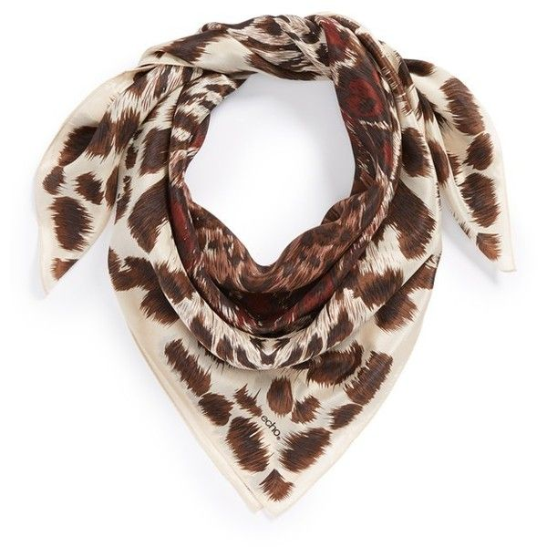 Women's Echo Cheetah Silk Square Scarf (210 BRL) ❤ liked on Polyvore featuring accessories, scarves, silk shawl, tying silk scarves, cheetah scarves, silk scarves and echo scarves