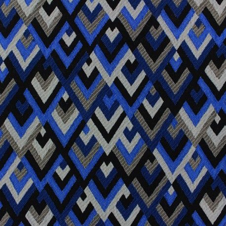 Tissu jacquard Ziga - bleu x 10cm