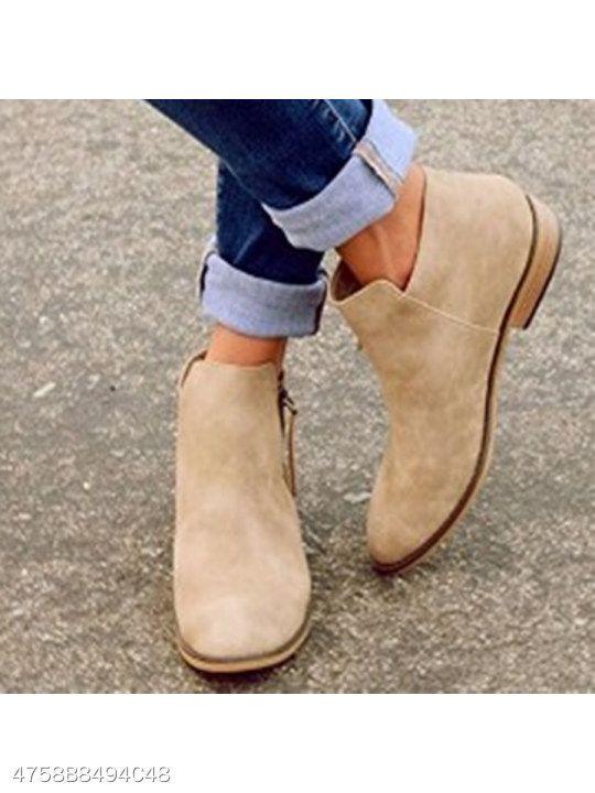 9103799dcd5b Plain Flat Velvet Round Toe Outdoor Ankle Boots - berrylook.com ...