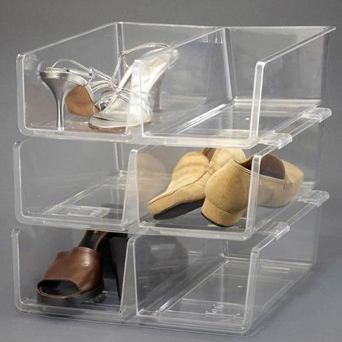 Stackable clear shoe storage | Stackable Clear Plastic Shoe Box by Dial | Plastic storage boxes with ...