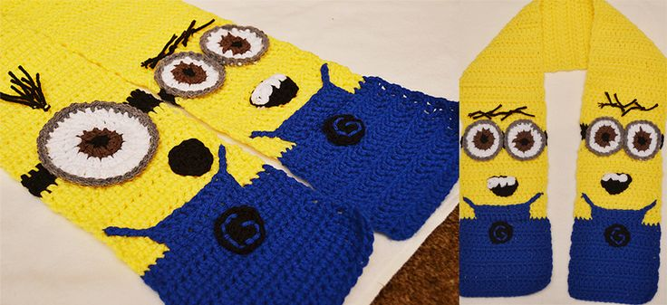 Crocheted Minion Scarf Patteren. From Ryckmania  http://ryckmania.wordpress.com/