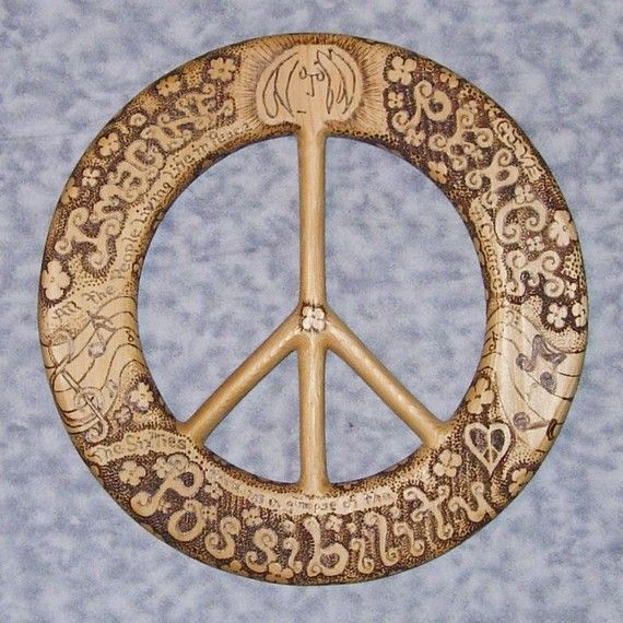 Words of PeaceJohn Lennon QuotesWood Burned Peace by signsofspirit, $168.00