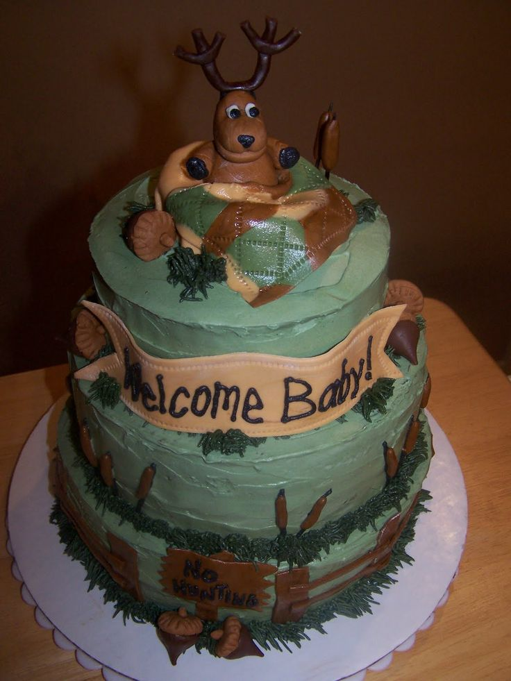 Baby Shower Deer Theme | Deer Hunting Baby Shower Cake With Coordinating  Cupcakes. Buttercream .