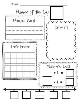 Number of the Day Practice Sheets to build number sense including: - Counting by ones - Counting forward from a given number - Writing Numbers - Number Words - Counting  - Addition - Subtraction - Decomposing Numbers - Composing Numbers  4 Differentiated Worksheets!