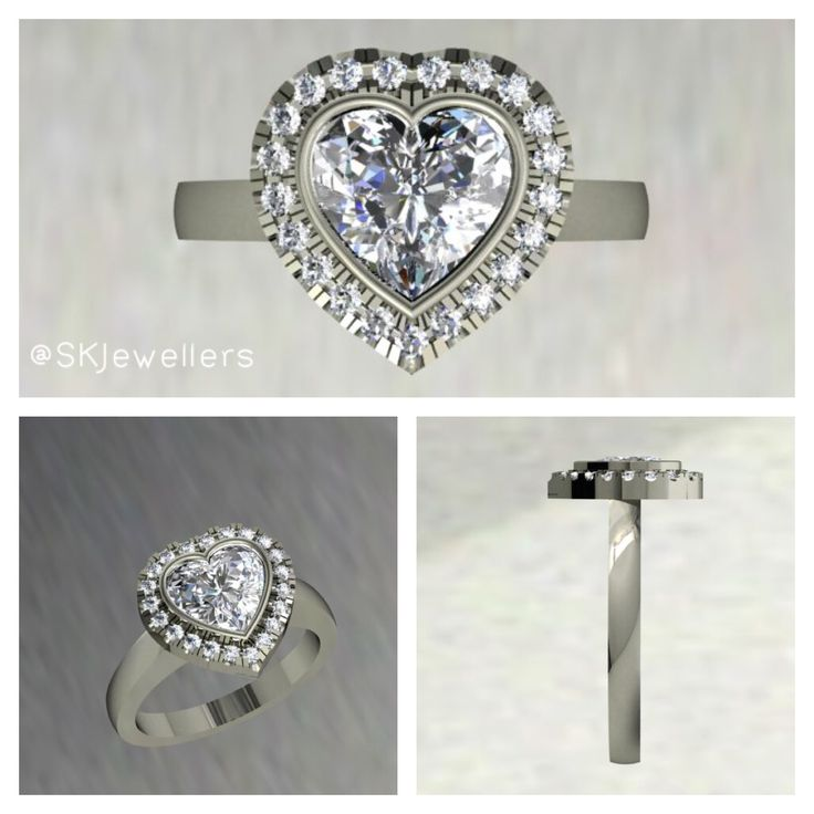 "Heart Shaped diamond halo Engagement Ring. Romantic & Unique! Would you say ""Yes!""? www.samuelkleinberg.com"