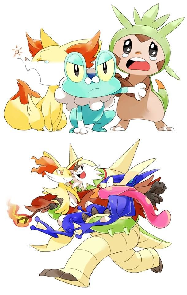 I Love How Delphox Is Staring At Chesnaught Lovingly Having The Time Of