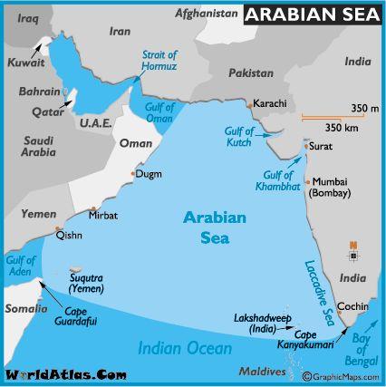 Map of Arabian Sea - Arabian Sea Map, World Seas, Arabian Sea Location - World Atlas