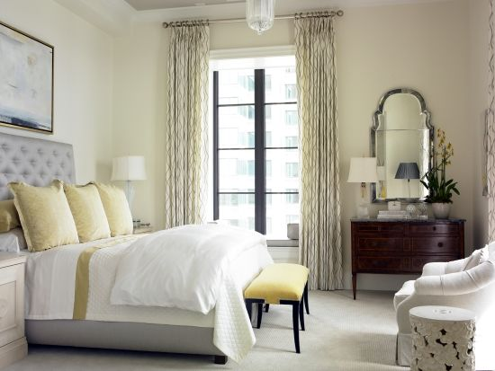 Bedrooms Gray Tufted Headboard Garden Stool Yellow Silk Pillows Yellow Bench Mirror Yellow Gray Bedroom Second View Of Lovely Creamy Gray