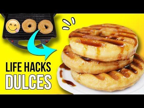 ¡Los mejores TRUCOS con DULCES!  ¡Cómo hacer TORTITAS con DONUTS!   4 LIFE HACKS con COMIDA  - YouTube