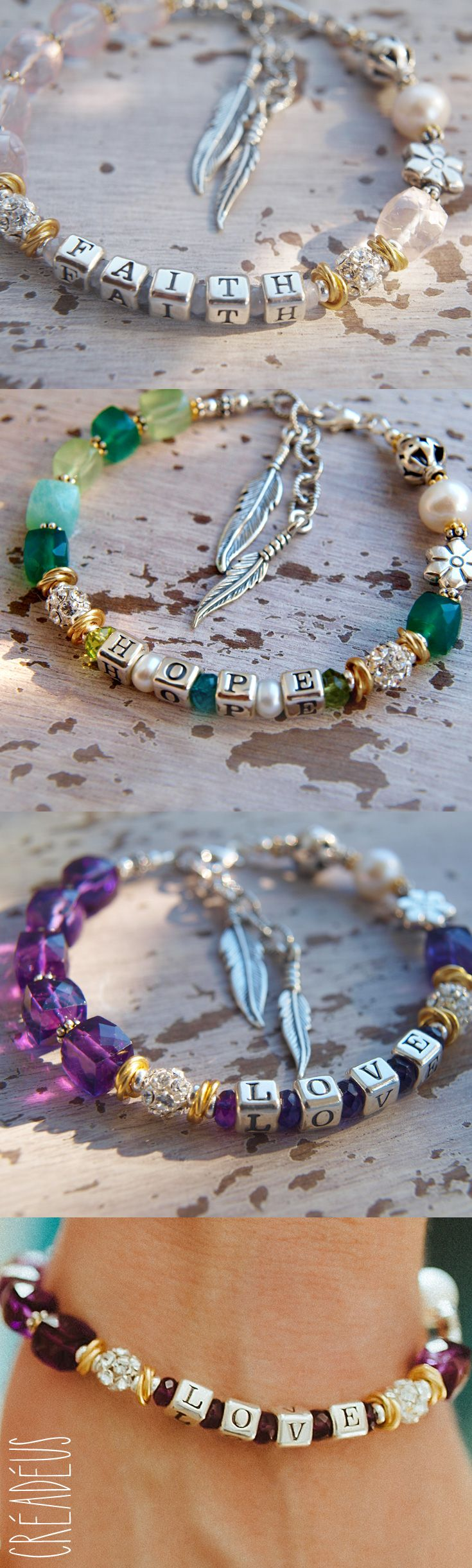 Gemstone Bracelet 'FAITH HOPE LOVE' with Letter Beads 925 Sterling Silver - Customizable - Creadeus Unique Jewelry Handmade in Germany