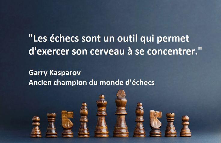 """""""Les échecs sont un outil qui permet d'exercer son cerveau à se concentrer."""" Garry Kasparov www.jouer-aux-echecs.com #echecs #chess"""