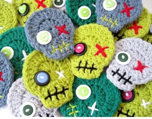 Crochet Zombie Head Skulls Pin Brooch Ornaments - no pattern, just inspiration