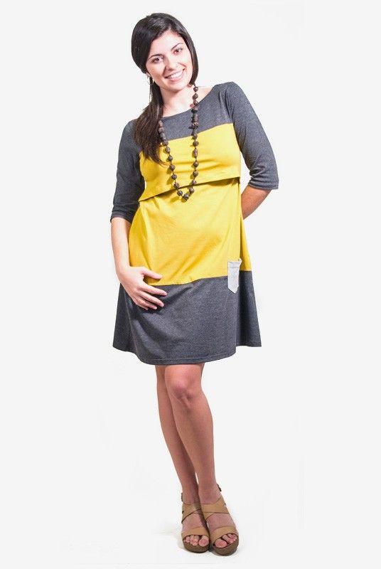 Vestido lactancia y premamá Chantal. #Vestido de #lactancia y #premamá con manga francesa. Una prenda multietapa en tonos grises y refresante #amarillo. Su corte sienta muy bien a la silueta #postparto, ya que no marca vientre y admite mucha cadera.  Acceso para la lactancia tipo imperio, bajo la base del pecho. www.tetatet.es Envíos internacionales #nursing #comfortable #dress #summer #casual #breastfeed Find out at: www.tetatet.es International deliveries
