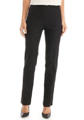 New Directions Women's Petite Woven Stretch Pant - Average Length - Black - 16P