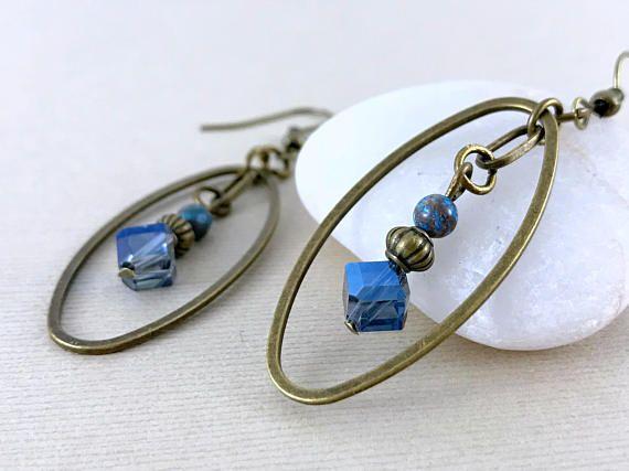 Long blue crystal brass earrings Gemstone earrings Boho chic