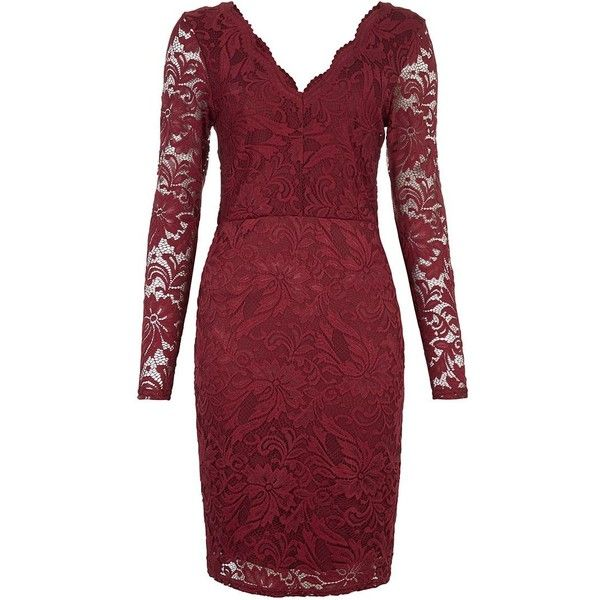 Burgundy Lace V Neck Bodycon Dress ($42) ❤ liked on Polyvore featuring dresses, burgundy bodycon dress, bodycon dress, lace dress, long sleeve cocktail dresses and red dress