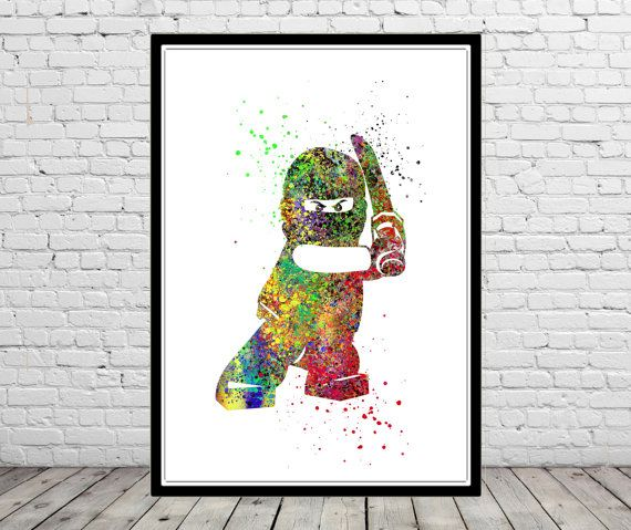 Lego Man Ninjago, Ninja  Watercolor print,  Kids Room Decor, Poster, print (1451b)