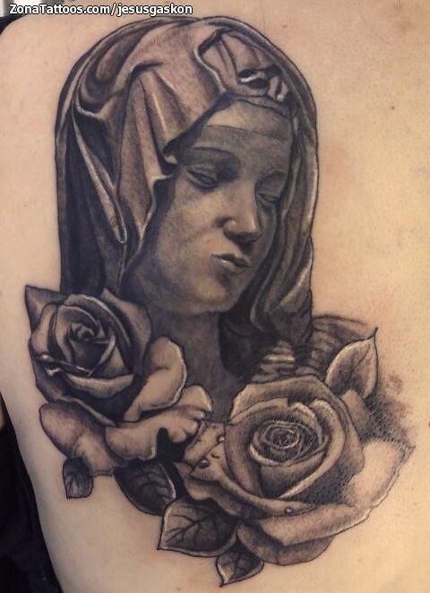 Tatuaje hecho por Jesús Usero, de Alicante (España). Si quieres ponerte en contacto con él para un tatuaje o ver más trabajos suyos visita su perfil: http://www.zonatattoos.com/jesusgaskon  Si quieres ver más tatuajes de vírgenes visita este otro enlace: http://www.zonatattoos.com/tag/119/tatuajes-de-virgenes  #Tatuajes #Tattoos #Ink #Vírgenes