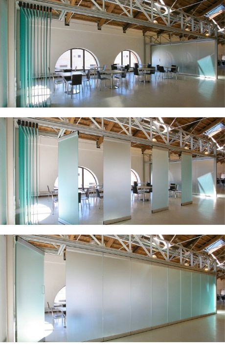 PANELES para separar salón de Reuniones.  Frameless retractable glass panels by Carvart