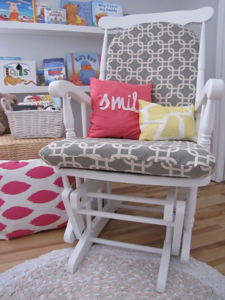 Buy an old rocker or glider, paint it, reupholster cushions. Looks great!