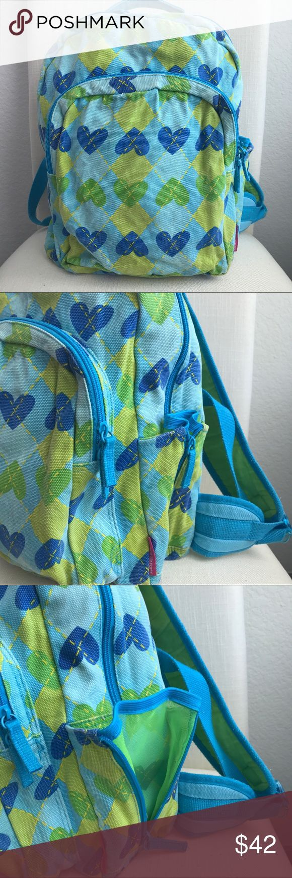 AGATHA RUIZ DE LA PRADA HEARTS BACKPACK Beautiful soft jean fabric, designer from Spain (Agatha Ruiz de la Prada), excellent used condition. Adjustable straps, padded back and straps. Can be used to stack on a suit case. Pocket in front and on the side. Jean fabric super sturdy. Color: faded blue and green. 💗Condition: Used condition, No flaws noted, no rips or holes. Noted two small stains in last picture barely noticeable.  💗No trades, No returns. Shipping next day 💗All transactions…