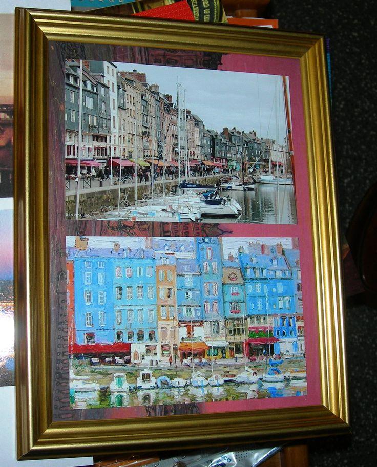 """""""Honfleur e en hiver"""" di Alice Prin, foto del porto di Honfleur in inverno e foto del quadro di Alice ispirato dallo stesso paesaggio..."""