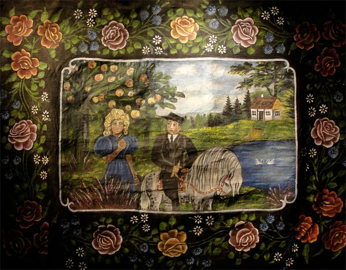 Расписной ковёр «Девушка с яблоками и кавалер на лошади» неизвестный автор