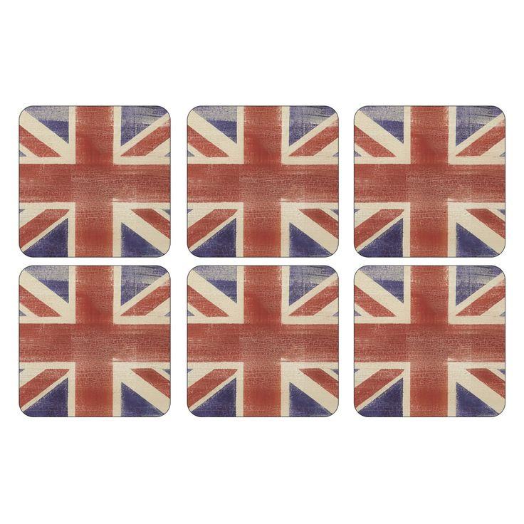 Pimpernel Union Jack Flag Coasters - Set of 6 - 2010268410