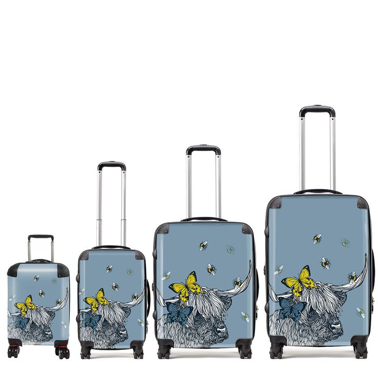 Gillian Kyle has designed some fabulous very Scottish suitcases. In a variety of sizes these fabulous lightweight suitcases are easily identified at any airport. Gillian Kyle Lola Highland Cow suitcases