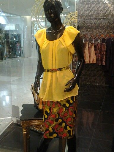 African prints...yellow basic skirt + yellow chiffon blouse # things that we ♥