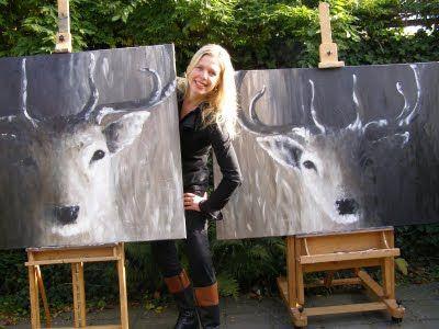 Schilderij hert http://witzandgrijs.blogspot.nl/2011/07/wat-een-prachtige-werken.html