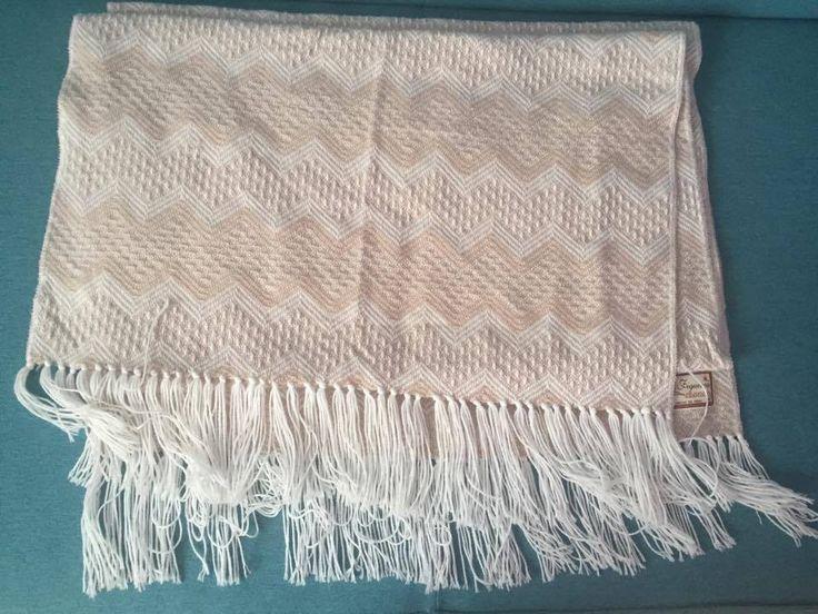 Figueroa Alpaca Peru Fringed Shawl warm scarf beige and white large #Figueroa #Scarf