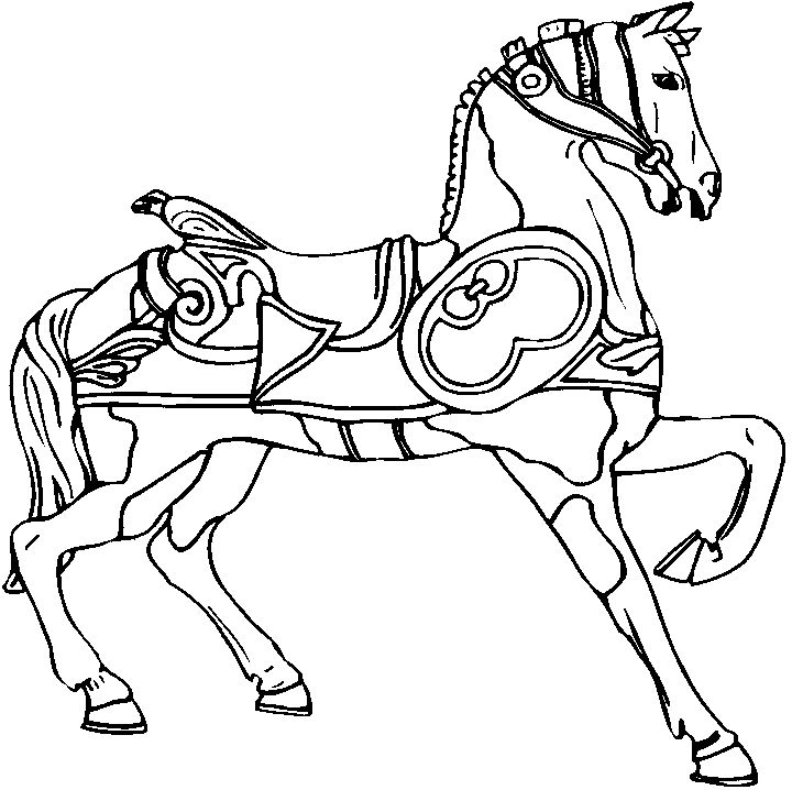 carousel line drawing horse prancing