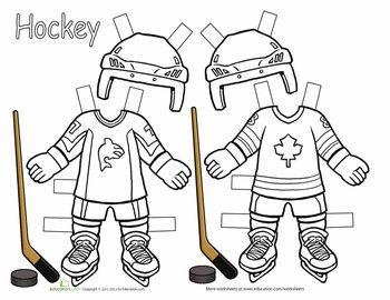 Worksheets: Hockey Paper Dolls